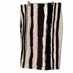 Jules & Leopold Midi Skirt White & Black Stripes